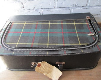 Vintage Soft Sided Suitcase Plaid Luggage Dark Blue