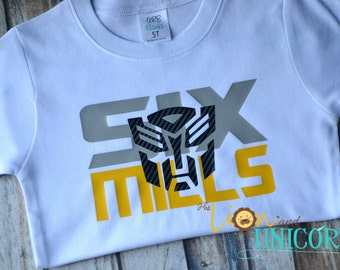 Transformers Birthday Shirt with age and name - Number can be changed - Colors Can be Changed