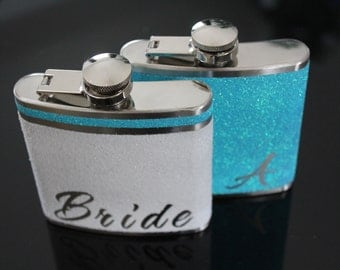 Bride Flask and Bridal Party Gift Set Personalized Bridesmaid Gift Maid of Honor Gift