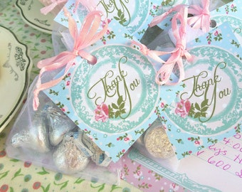 Shabby Chic Thank You Tags Printable: Tea Party Favor Tags for Goodie Bags or Gift Tag -- Vintage Style