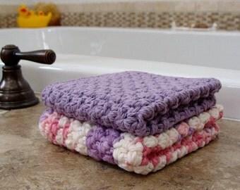 2 Handmade Washcloths 100% Cotton Purple And Multi Pinks With Purple