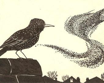 Starling murmuration original illustration giclee print