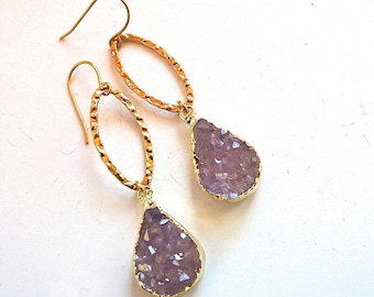 Genuine Taupe Druzy Drusy and Gold Fill Marquise Hoop Double Dangle Drop Earrings. Drusy druzy jewelry.