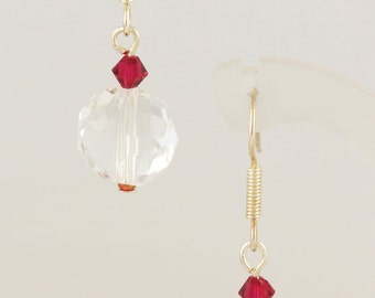 Crystal bauble earrings in red, green.or gold