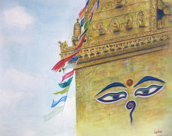 Original watercolour painting - Buddha Eyes