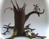 Tree.-stump.Owl.mushroom.Hand Felted.Waldorf . Wet Felted.