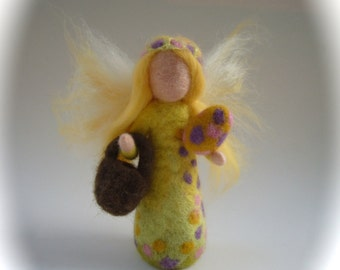 Easter-Fairy.Hand-felted. Wet  felted. Waldorf. Felted. Blossum flower fairy.flower child.