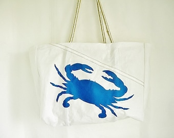 Maryland Blue CRAB bag from recycled sail cloth XLG