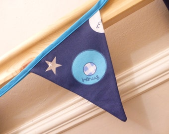 Blue space theme bunting featuring planets, mercury, mars, earth,venus, saturn, jupiter
