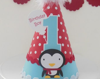 Lil' Penguin Winter Onederland Birthday Party Hat - Aqua Blue and Red Polka Dot- Personalized