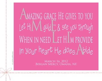 Christian Gifts for Girls, 8x10 Paper Print, Keepsake, Amelia