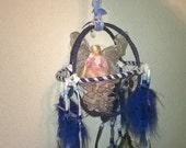 3-D Large Fairy Dream Catcher Mobile, features Crystal Hearts woven into dream web,designer leathers,fancy feathers,magic butterfly fairy