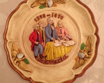 Hand Painted United States Bicentennial Plate Raised Images