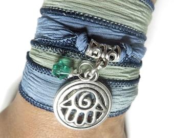 Bohemian Silk Wrap Bracelet Yoga Jewlry Hamsa Hand Of Fatima BlueGreen Spiritual Protection Jewelry Boho Christmas Summer Gift For Her