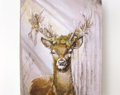 Floral Deer 11x14 Print