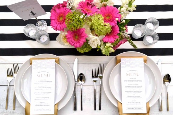 Mariage chemin de table chemin de table noir et blanc ray - Chemin de table noir et blanc ...