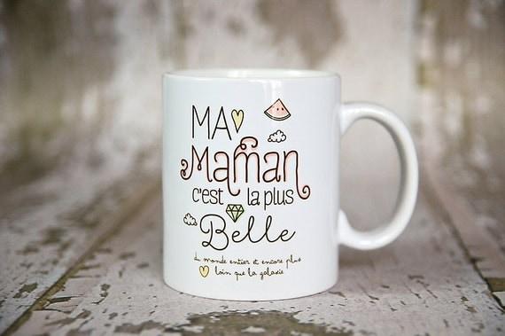 le mug ma maman c 39 est la plus belle par creabisontine sur etsy. Black Bedroom Furniture Sets. Home Design Ideas