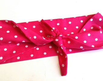 Hot Pink Polka Dot Rockabilly Bandana