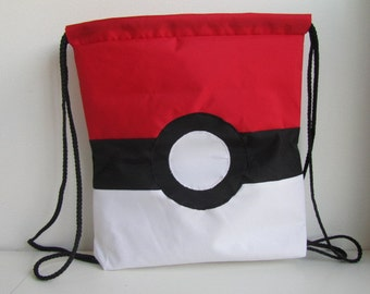 Nylon canvass drawstring bag, Poke Ball drawstring bag, Pokemon drawstring bag