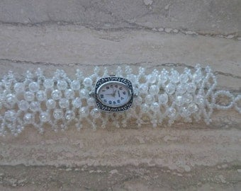 BLOWOUT SALE-Crystal beaded watch bracelet by Ashley3535