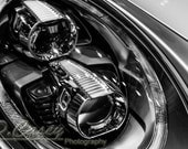 Porsche headlight, Photography, fine art Photography, Black and white, wall art, home décor, car photography, vintage, auto, gift, print