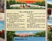 Greetings from Alabama vintage postcard. Linen finish large letter postcard. Unused.