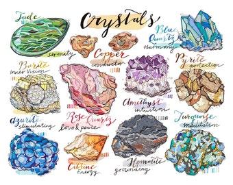 Gemstones art. Crystals. illustration. Quartz. Amethyst. Turquoise. Healing. Precious Stones. Geology. Bedroom decor.