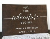 The Adventure Begins Wedding Welcome Sign - Nautical Wedding Welcome Sign - Wood Wedding Welcome Sign - WS-166