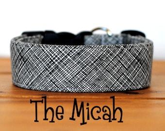 "Black White & Grey Crosshatch Menswear Inspired Dog Collar ""The Micah"""