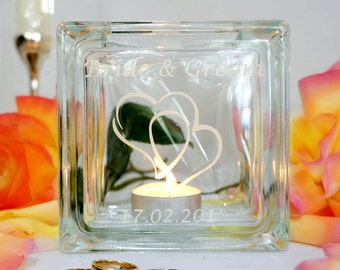 Personalised wedding candle holder with hearts