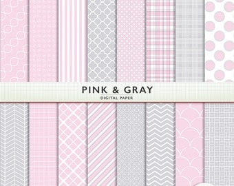 Pink and Gray Digital Paper - 16 Sheets - Baby Girl-  Scrapbooking Instant Download Cardstock G7218