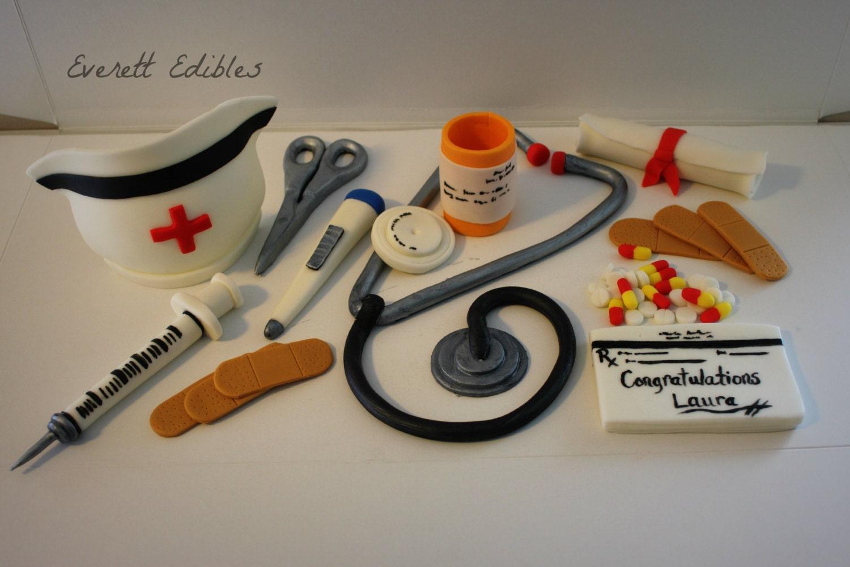 16 Nurse Medical Fondant Cake Decoration set by by EverettEdibles