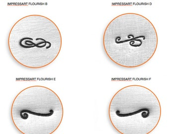 ImpressArt 6mm Flourish Stamps - choose Flourish B, Flourish D, Flourish E or Flourish F, jewelry stamps, Stamps, Metal Stamps