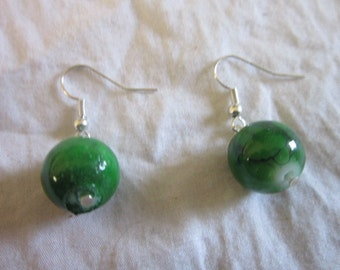 Vintage Green Glass Ball Dangle Pierced Earrings