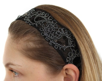 Black and Silver with Sequins Head Band