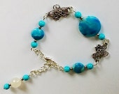 Agate bracelet, turquoise bracelet bracelet, gemstone bracelet, silver plated, moonstone bracelet, unusual bracelet