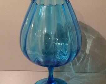 Extra Large Blue Glass Goblet Brandy Snifter Pedestal VINTAGE