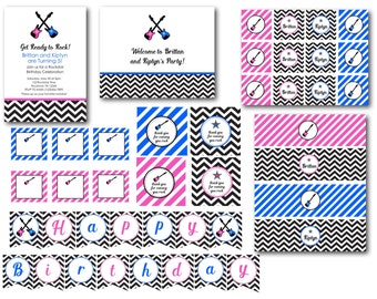 Pink and Blue Rockstar Birthday Party Printable Collection or Choose your Items