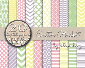 "Digital Paper Pack of 20 ""Easter Basket""--JPG format--12x12- Great backgrounds for Spring-Websites Invites Cards Banners Logos Etc!"