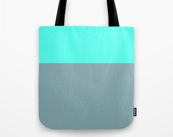 Robin's Egg Blue and Gray Canvas Tote Bag, Color block tote bag, 13 x 13 inch tote bag, Small Tote Bag, Lunch Bag