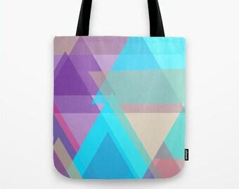 Tote Bag / Purple Tote Bag / Small Tote / Printed Tote Bag / Art Tote / Turquoise Tote / Womens Tote / Women's Tote Bag