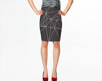 Grey Pencil Skirt /  Digital Print Skirt / Grey Skirt with White Graphic Design /  Fitted Skirt /  Gray Skirt /  Art Skirt / Bodycon Skirt