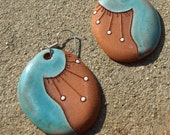 Handmade Ceramic jewelry. Cobalt Blue Oval Drop earrings. Unique Statement jewelry. Ceramic Dangle earrings. Red Clay. Artistic Gift for her