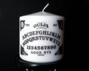 Small White Ouija Board Pillar Candles