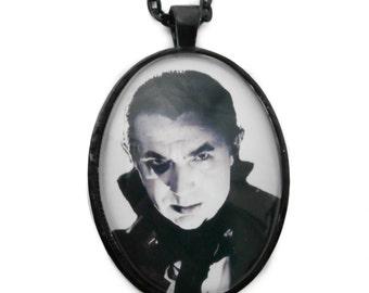 Dracula Black and White Necklace // Black Oval Setting 30x40 // Bela Lugosi