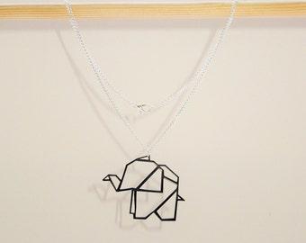 Origami Geometric Animal Elephant Necklace