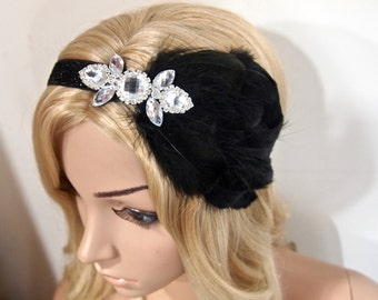 Gatsby headband, Flapper headband, Great Gatsby 1920 headpiece, Black Feather headband, beaded headband, Vintage Roaring 20s headband