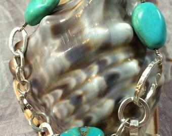 Kingman Turquoise fine silver bracelet-on sale from 150.00