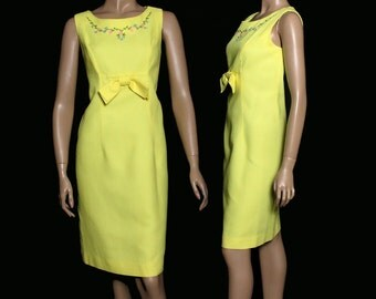 Vintage 1960s Dress Yellow Couture Mad Man Femme-Fatale Hourglass Pencil-Wiggle Rockabilly Garden Party Designer