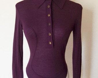 Azzedine Alaia 1990s vintage plum purple top collared bodysuit S